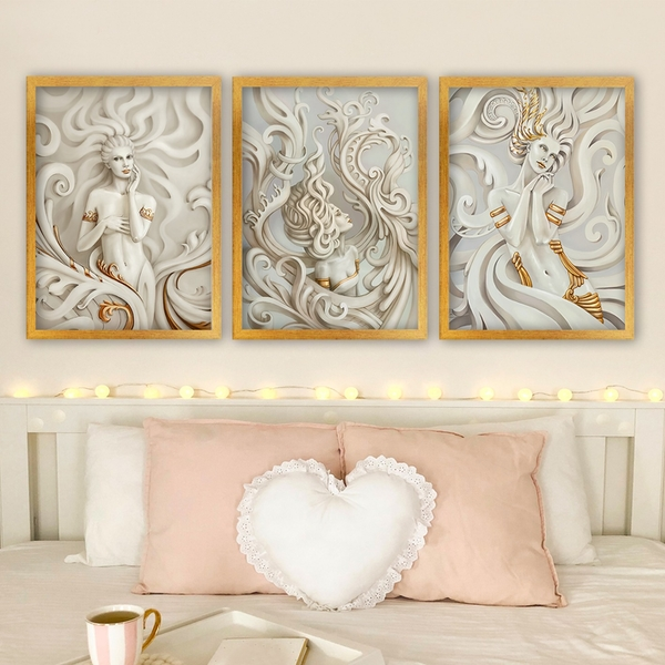 3SC117 Multicolor Decorative Framed Painting (3 Pieces)