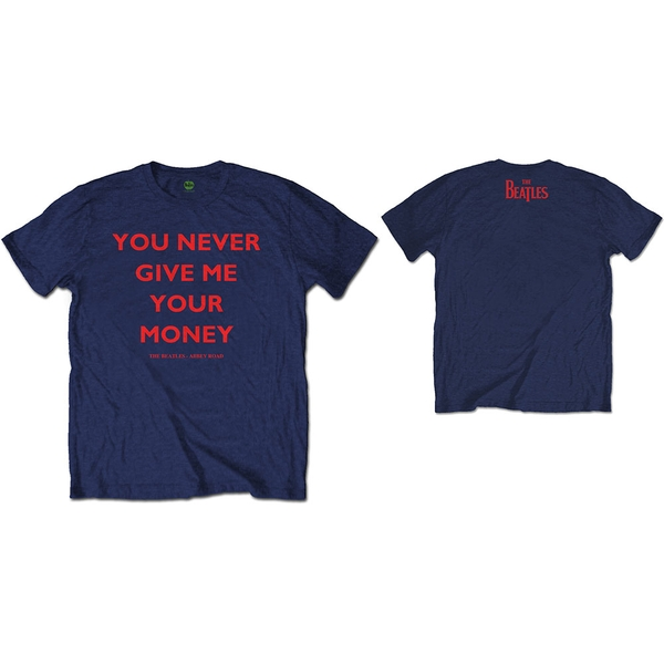 The Beatles - You Never Give Me Your Money Unisex Large T-Shirt - Blue