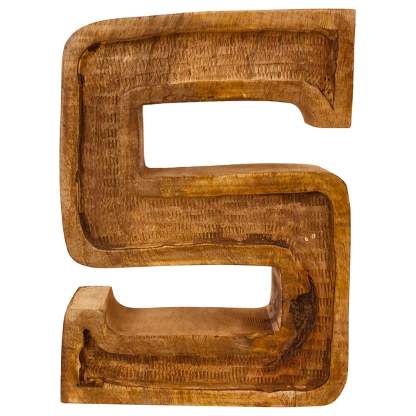 Letter S Hand Carved Wooden Embossed