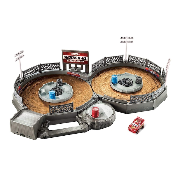 Disney Pixar Cars Mini Racers Crank and Crash Derby Playset with Mini Lightning McQueen Toy Car