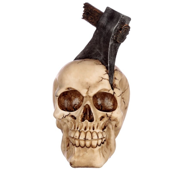 Gothic Axe Head Skull Ornament