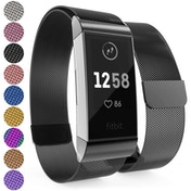 YouSave Milanese Metal Strap - Black compatible with Fitbit Charge 3