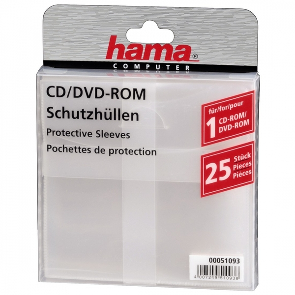 CD/DVD Protective Sleeves 25 Transparent