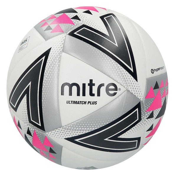 Mitre Ultimatch Plus Match Ball White/Silver/Pink - Size 5