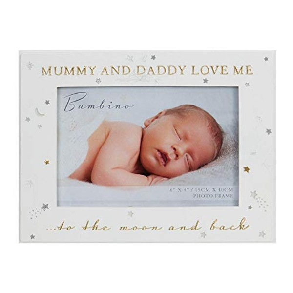 """6"""" x 4"""" - Bambino Mummy & Daddy Love Me to the Moon & Back"""