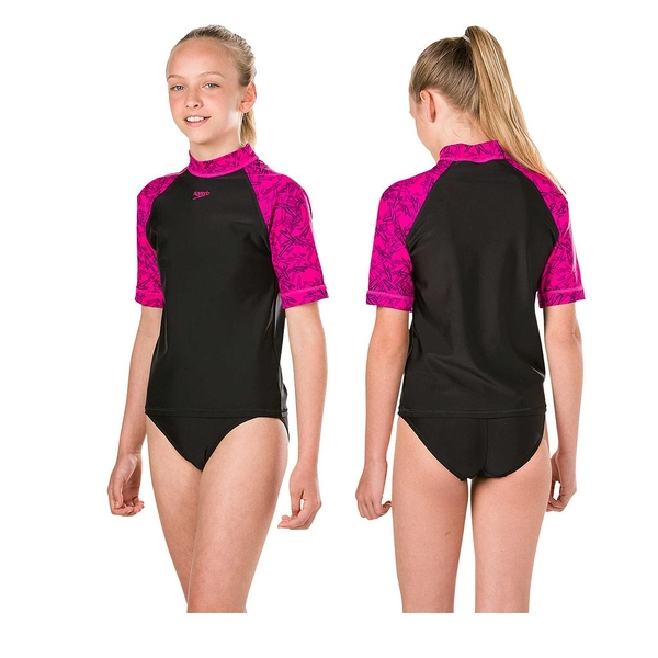 Speedo Boom Rash Top Junior Black/Pink 30""