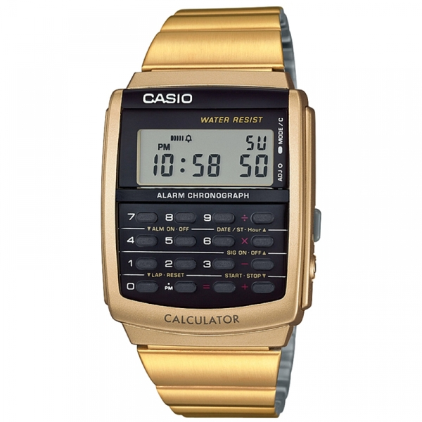 608a2952b499 Hey! Stay with us... Casio Retro Calculator Watch Gold