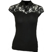 Spiral Plain Lace Corset Sleeveless Top Medium Black
