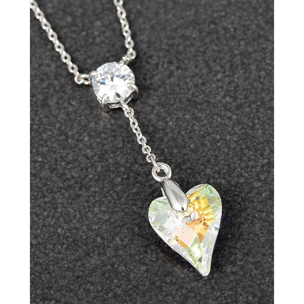 Crystal Collection Hanging Heart PP Necklace Clear