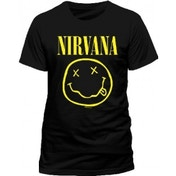 NIRVANA Smiley T-Shirt, Unisex, Medium, Black