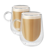 Set of 2 350ml Double Walled Coffee Glasses with Handles | M&W