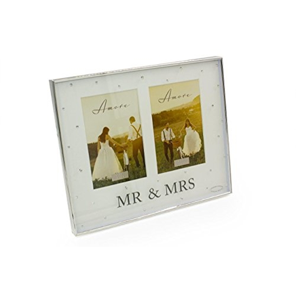 "4"" x 6"" - AMORE BY JULIANA? Silver Double Frame - Mr & Mrs"