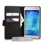 YouSave Accessories Samsung Galaxy J5 Leather-Effect Wallet Case - Black