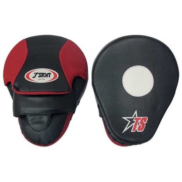 T-Sport Curved Focus Mitts 10 inch Black and Red