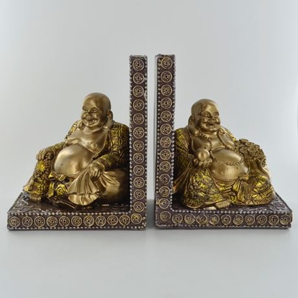 Happy Buddha Bookends Pair H14cm