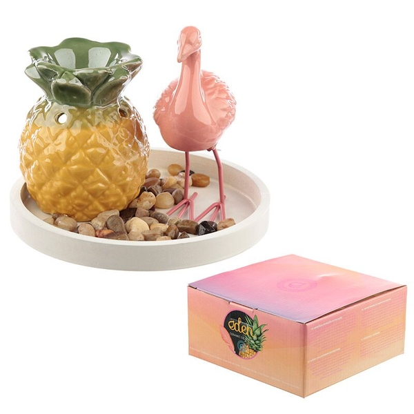 Pineapple Oil Burner & Flamingo Decoration Eden Aroma Set