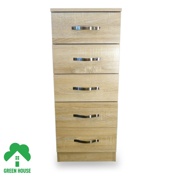 5 Chest Of Drawers Oak Bedside Cabinet Dressing Table Bedroom Furniture Wooden Green House