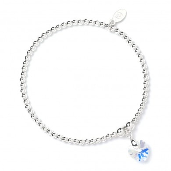 d1abad5aff73 Hey! Stay with us... Crystal AB Swarovski Crystal Heart with Sterling Silver  Ball Bead Bracelet