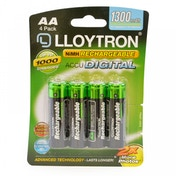 Lloytron B012 Rechargeable Accudigital AA Ni-MH Batteries 1300mAh 4 Pack