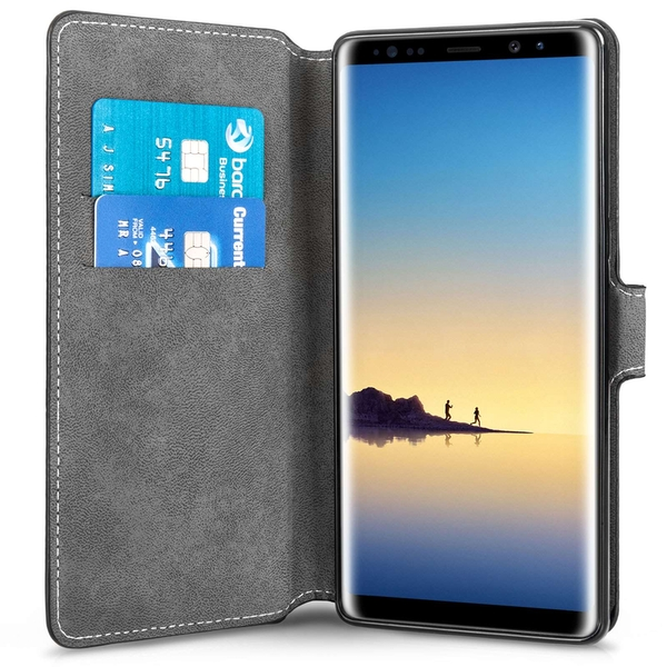 Samsung Galaxy Note 8 PU Leather Slim Wallet Stand Case - Black - Image 2