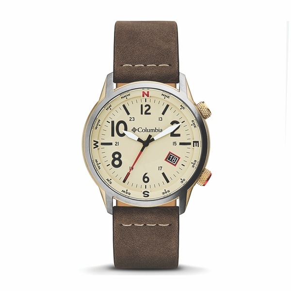 Columbia CSC01-002 Outbacker Stone 3-Hand Date Saddle Leather Watch