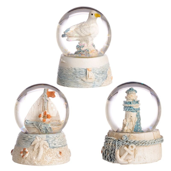 Nautical (Pack Of 6) Seaside Snow Globe