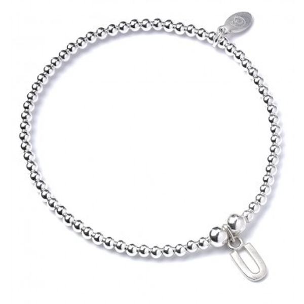Initial U Charm with Sterling Silver Ball Bead Bracelet
