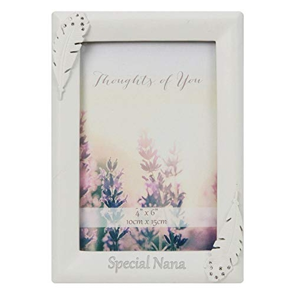 """4"""" x 6"""" - Thoughts of You Feather Frame with Crystals - Nan"""