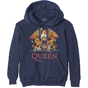 Queen - Classic Crest Men's X-Large Pullover Hoodie - Navy Blue