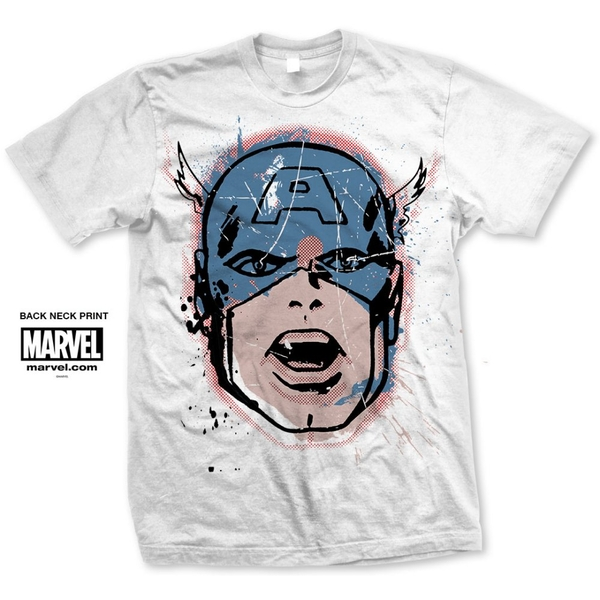 Marvel Comics - Captain America Big Head Distressed Unisex Large T-Shirt - White