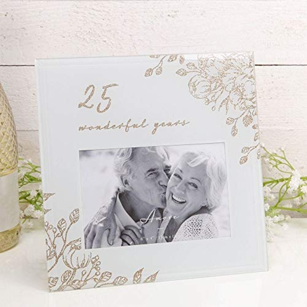 """6"""" x 4"""" - AMORE BY JULIANA? Gold Floral Frame - 25 Years"""