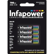 Infapower AAA 700mah Ni-MH Rechargeable Batteries (4 Pack)