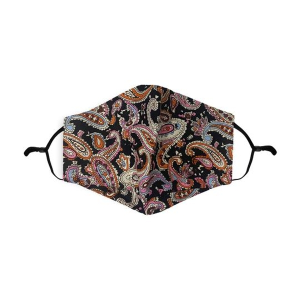Black/Pink Paisley Pattern Printed 100% Cotton Face Mask