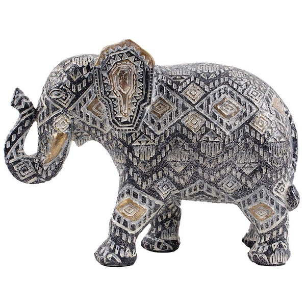 Geometric Black and Gold Small Thai Elephant Figurine