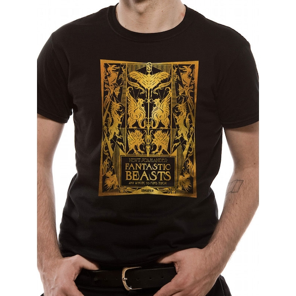 Crimes Of Grindelwald - Gold Foil Book Cover Men's Large T-Shirt - Black