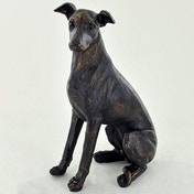 Whippet Sitting Cold Cast Bronze Sculpture 15cm