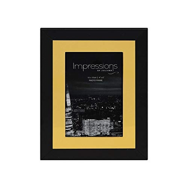 "4"" x 6"" - Impressions Aluminium Photo Frame - Black & Gold"