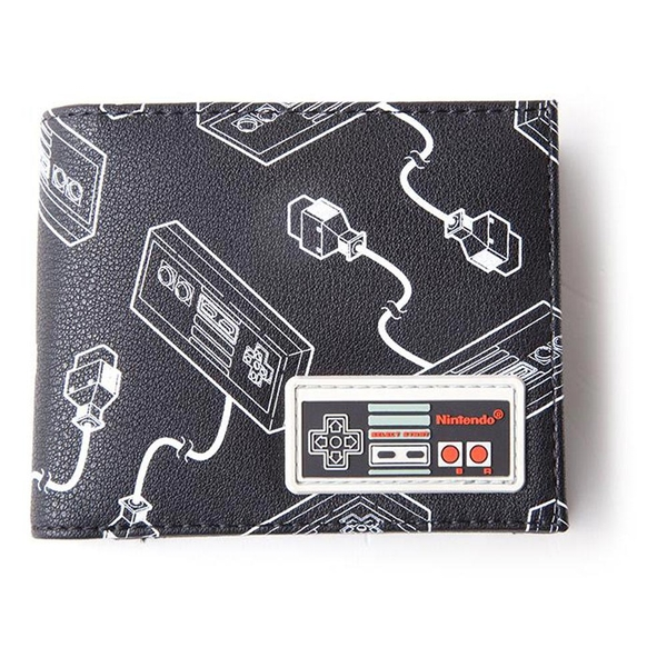 Nintendo - Nes Controllers All-Over Print With Rubber Patch Men's Bi-Fold Wallet Wallet - Multi-Colour