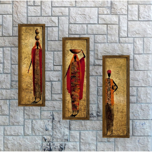 KZM391 Multicolor Decorative Framed MDF Painting (3 Pieces)