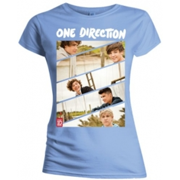 One Direction Band Sliced Skinny Pale Blue TS: Large
