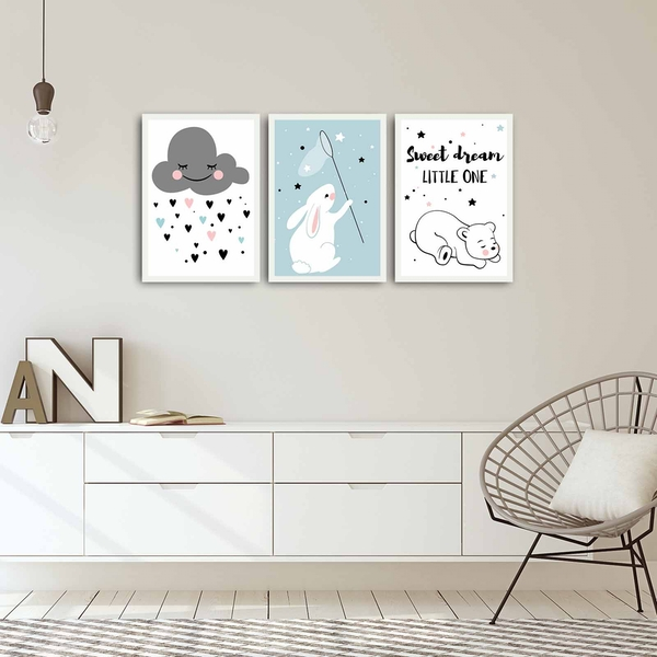 3PBCT-02 Multicolor Decorative Framed MDF Painting (3 Pieces)