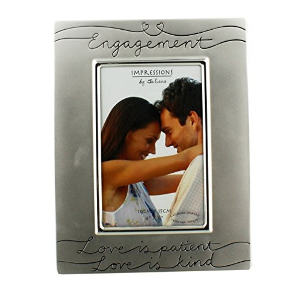 """4"""" x 6"""" - Silver Plated Engagement Photo Frame"""