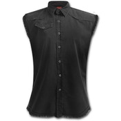 Urban Fashion Sleeveless Worker Shirt Women's Large Sleeveless Top - Black