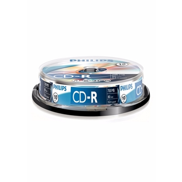 Philips CD-R Recordable 52X 10PK Spindle - Image 1