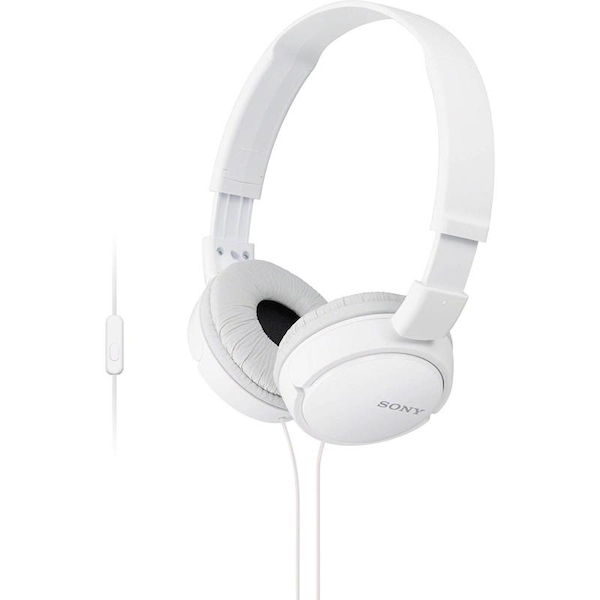 Sony MDRZX110APW Over Ear Sound Monitoring Headphones with Smartphone Mic & Control - White