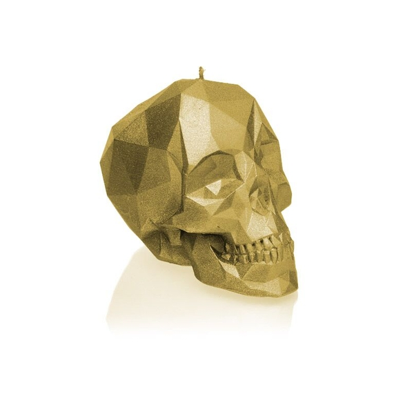 Classic Gold Small Low Poly Skull