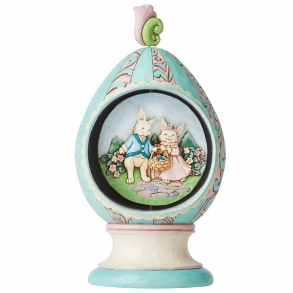 Revolving Egg with Bunnies and Chicks Scene Figurine