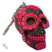 Sugar Blossom (Pack Of 6) Skull Keyrings