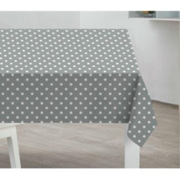 Sabichi PVC Tablecloth Grey Polka Dot