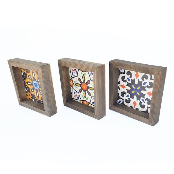 UKZM058 Multicolor Decorative Framed MDF Painting (3 Pieces)